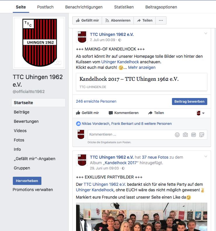 2017: Der TTC weiht seine offizielle Facebookseite ein