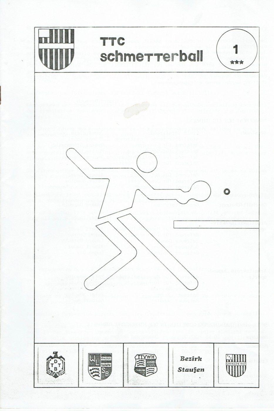 """1988: Erstmalige Herausgabe der Vereinszeitschrift  """"Schmetterball"""""""