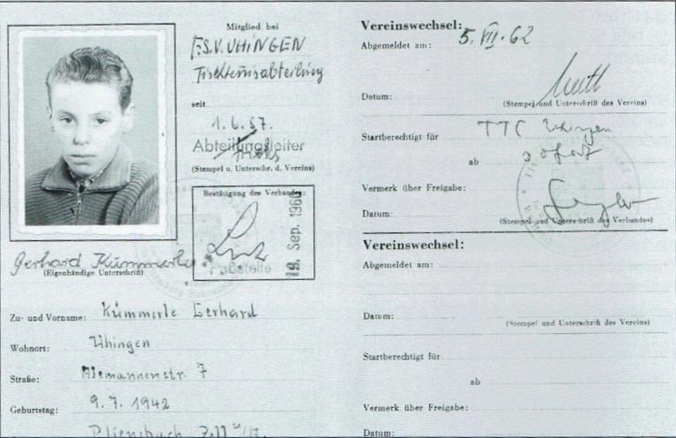 1962: Gründung des Tischtennisclubs Uhingen 1962 e.V.